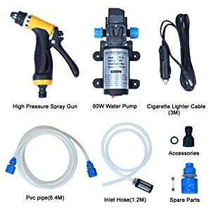 EFORCAR Electric Car Washer, High Pressure Car Washer Pump,12V 80W Electric Washer Pump Car Washer Device for Auto,Pet, Window,Watering and Camping (Car Washer) (Color: Car Washer)