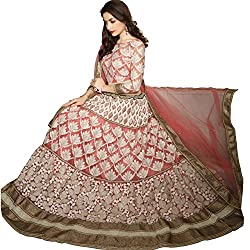 Jiya Presents Embroidered Net Lehenga Choli(Pink,Cream)