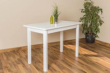 Massivholz Tisch 60x110 cm Kiefer, Farbe: Weiß