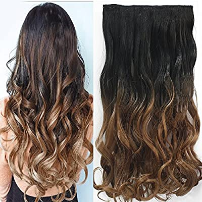 """Neverland Beauty 24""""Synthetic Curly Two Tone Ombre Hairpiece Hair Extensions 3/4 Full Head Clip 6 Colors"""