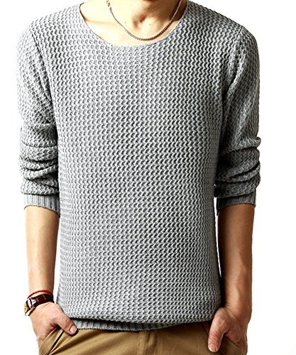 King Ma Men'S All Day Crew Sweater (Chinese M, Light Gray)