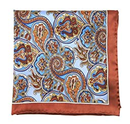 100% Printed Silk Latte and Light Blue Bolstered Paisley Pocket Square