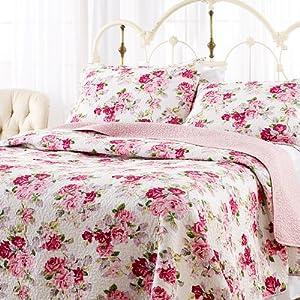 Amazon.com: Laura Ashley Lidia Quilt Set, Pink, Full/Queen: Home
