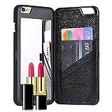 FLOVEME iPhone6s ケース / iPhone6 ケース鏡付き ミラー付き カード収納 スタンド付きアイフォン6s / 6 用 カバー ブラック