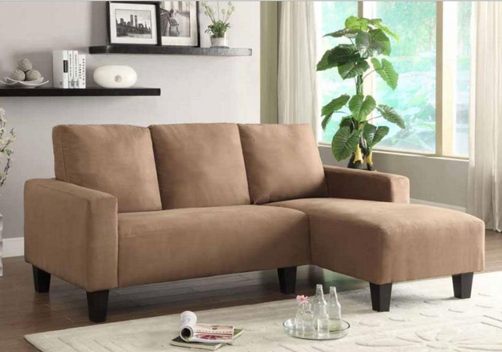 1PerfectChoice Sothell Contemporary Sectional Sofa w/Chaise Small Living Room Camel Microfiber