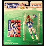 HERMAN MOORE / DETROIT LIONS 1997 NFL Starting Lineup Action Figure & Exclusive NFL Collector Trading Card ~ Starting Line Up