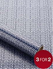 Blue & Silver Herringbone Christmas Wrapping Paper