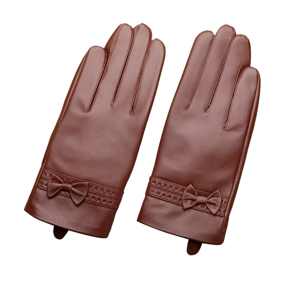 Limitless Sports Women's Winter Warm Nappa Leather Gloves (Plush / Cashmere Lining)-brown sticker winter sports