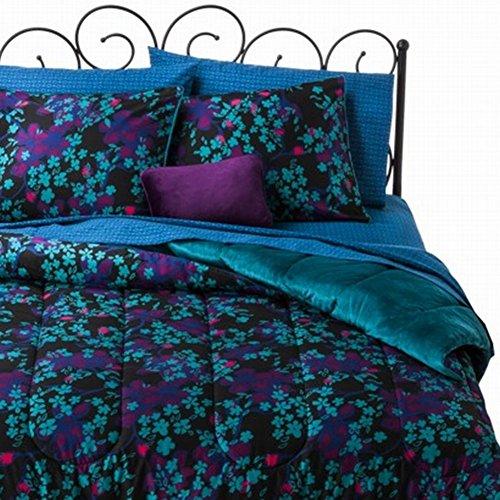 Xhilaration Twin Bed In Bag Black Teal Floral Comforter Sheet Sham & Pillow front-528585