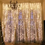 Outop Window Curtain Lights 304LED 9.8FT 8 Modes Fairy Lights for Party Wedding Garden Home (Warm White) (Color: Warm White, Tamaño: 9.8ft x 9.8ft (304LED))