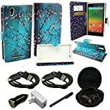 Mstechcorp - PU Leather Flip Wallet Credit Card Cover For ZTE Quartz Z797C Premium Wallet Card Flip Pocket + [Car Charger 2 Data Cable] + [Touch Screen Stylus] + [2 Generic Data Cables] + [Hands Free Earphone] (BLOOMING TEAL)