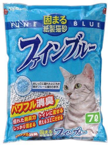 常陸化工 固まる紙製猫砂ファインブルー  7L