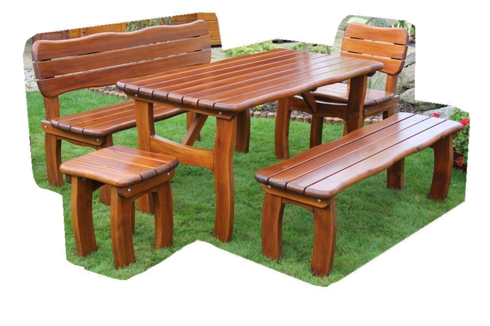 "Massivholz Garten Sitzgruppe ""Lorit-2"" , Kiefer , unlackiert , Holzdicke 42 mm ! Set : 2 Gartenbänke , Gartenstuhl + Hocker , Massivholztisch günstig online kaufen"