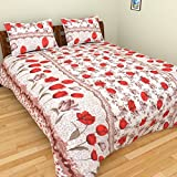 ITrend India 200 CT Polycotton Double Bedsheet With 2 Pillow Covers (Floral, 225 Cm X 225 Cm X 1 Cm, Red)