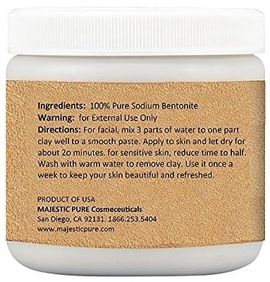 Majestic Pure Bentonite Clay - 16 Oz, 100% Pure Sodium Bentonite Indian Healing Clay Powder - Therapeutic Grade