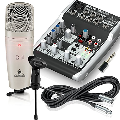 Recording Studio Podcast Kit - Behringer XENYX Q502 USB Mixer - C1 Microphone - Gator Desktop Mic Stand - XLR Cable - Adapter (Behringer Mixer Personal compare prices)