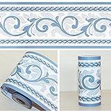 SimpleLife4U Moistureproof PVC Wallpaper Border Peel & Stick Wall Borders Sticker Blue Scroll Home Decor