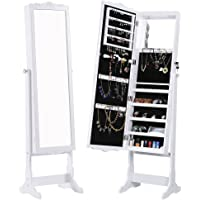 Langria Lockable Carved Jewelry Armoire Cabinet with LED lights and Mirror (White)