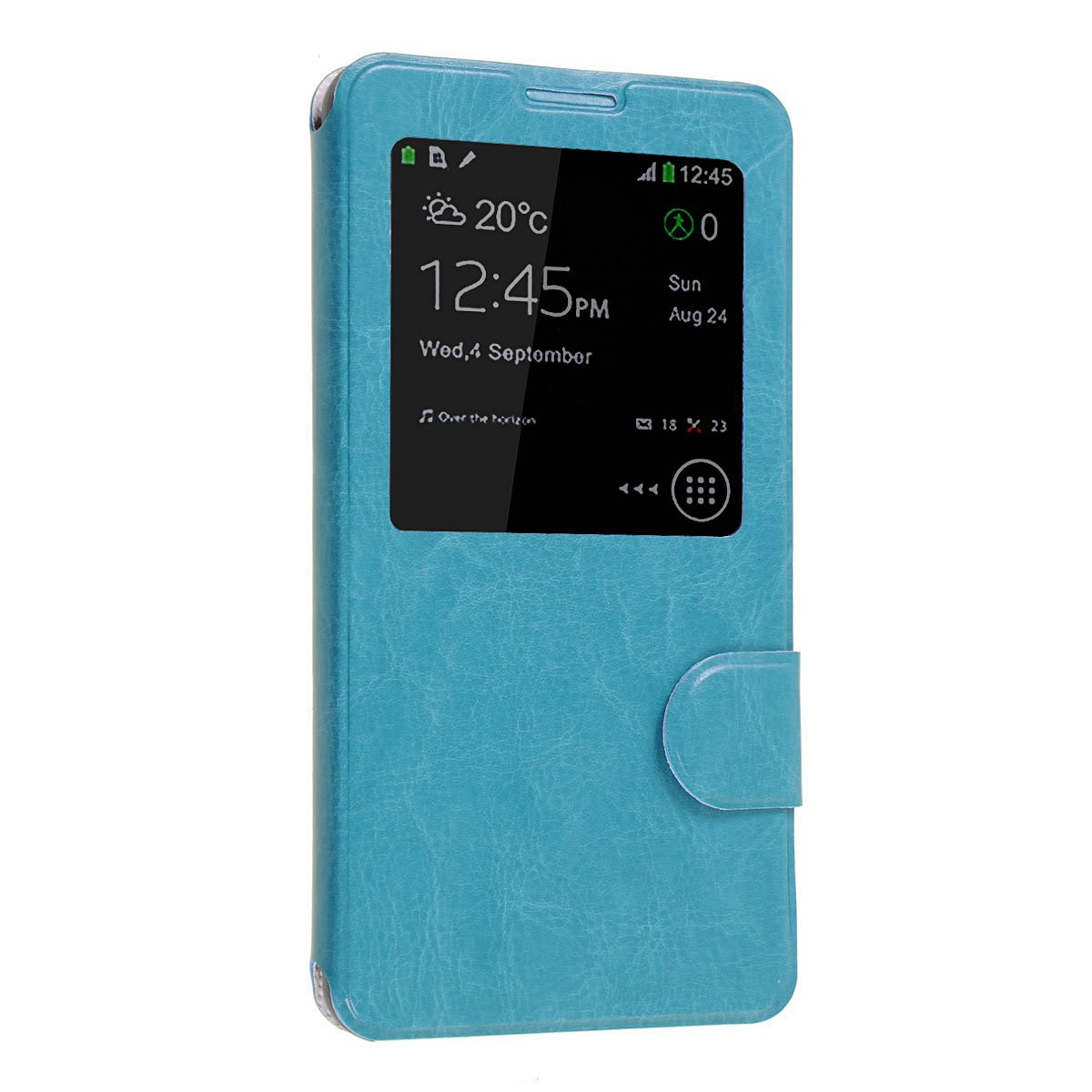Okeler Hot Light Blue S-View Flip Cover Leather Case