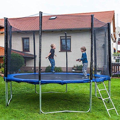 Gartentrampoline Trampoline Outdoor-Trampoline Fitness-Trampoline 370cm , inkl. Sicherheitsnetz,Schuhtasche, Bodenanker, Leiter und Abdeckplane thumbnail