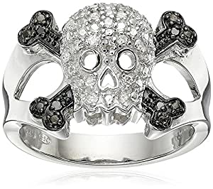 Sterling Silver Diamond Skull Ring (1/10 cttw, I-J Color, I2-I3 Clarity), Size 8