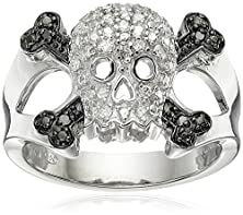 buy Sterling Silver Diamond Skull Ring (1/10 Cttw, I-J Color, I2-I3 Clarity), Size 7