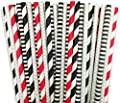 """Black Red and Silver Stripe Chevron Paper Straw Combo-Birthday, Star Wars Party Supply 100% Biodegradable 7.75"""" Pack of 100"""