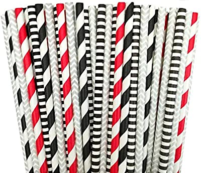 "Black Red and Silver Stripe Chevron Paper Straw Combo-Birthday, Star Wars Party Supply 100% Biodegradable 7.75"" Pack of 100"