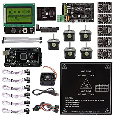 SainSmart Ramps 1.4 + A4988 + MK2B + Mega2560 R3 + LCD 12864 3D Printer Controller Kit for 3D Printers RepRap