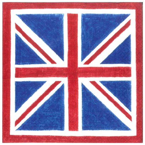 Entertaining with Caspari Union Jack Paper Luncheon Napkins, Pack of 20 (British London Decorations compare prices)