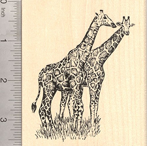 Giraffe Pair Rubber Stamp, African Wildlife, Large