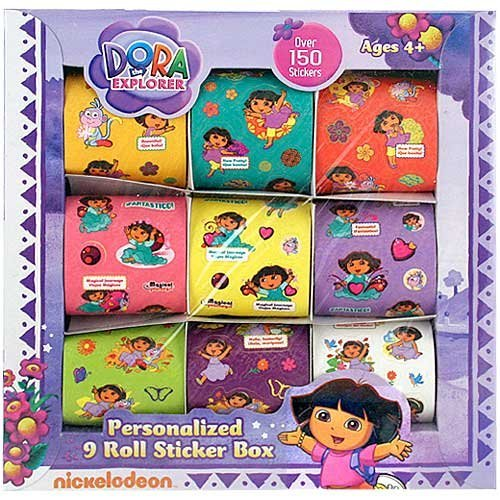 Dora the Explorer Personalized 9 Roll Sticker Box