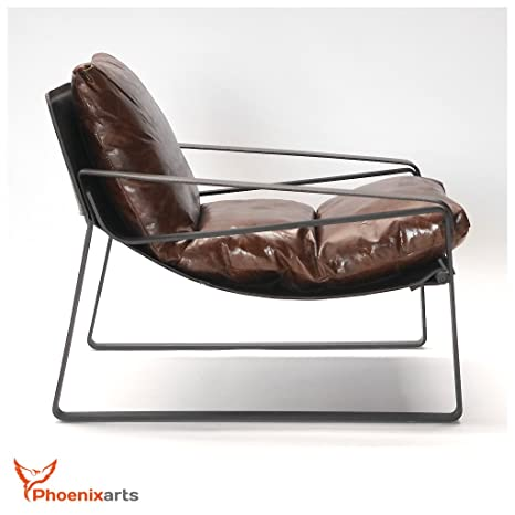 Vintage Relaxsessel Echtleder Sessel Design Lounge Ledersessel Braun Clubsessel Sofa 457