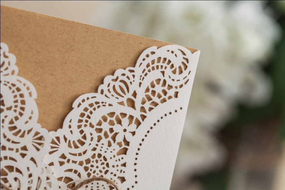 Wishmade 50x Rustic Laser Cut Lace Sleeve Wedding Invitations Cards Kits for Engagement Bridal Shower Baby Shower Birthday Graduation Cardstock with Hollow Favors Rustic Envelope(Set of 50pcs) 2