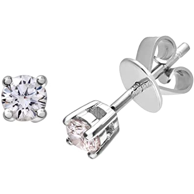 Naava 0.25 ct I/I1 Certified Round Brilliant Diamonds 9 ct Gold Stud Earrings
