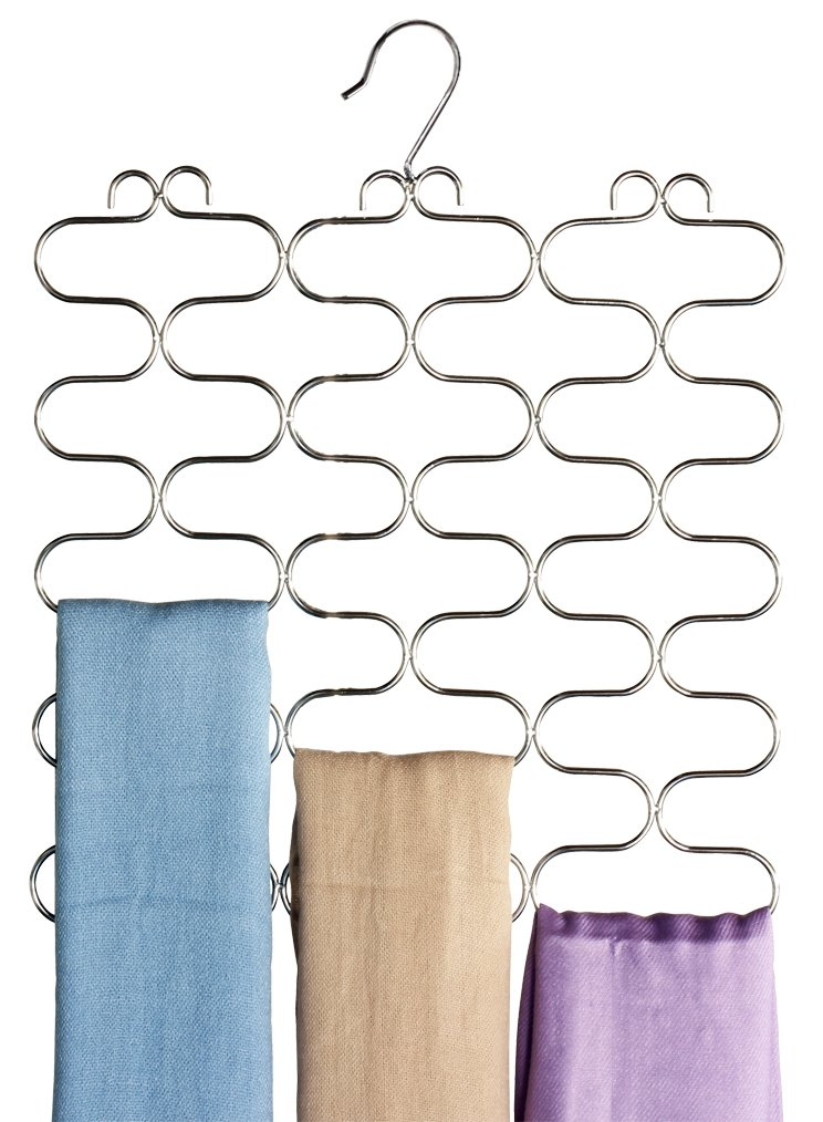 DecoBros Supreme 23 Loop Scarf / Belt / Tie Organizer Holder, Chrome
