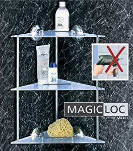Wenko magic loc badablage acryl chrom 3 etagen for Eckregal bad ohne bohren