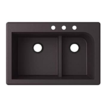 Swaoi|#Swanstone QZ03322LD.077-3C 22-In X 33-In Granite Kitchen Sink 3-Hole, Nero,