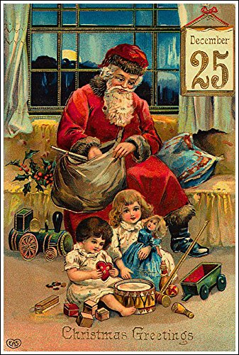 Santa Claus Christmas Greetings Wall Vintage Poster Print