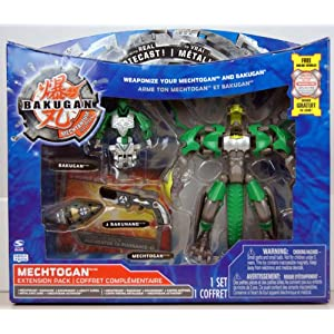 Bakugan - Mechtanium Surge - Mechtogan Extension Pack - ZENTHON GREEN with Real Die-Cast! - incl. 1 Mechtogan, 1 Bakugan, 2 Bakunano and 2 Ability Cards - MIB