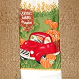 Harvest Farms Pumpkins, Crocheted Top Hanging Towel, Double Sided