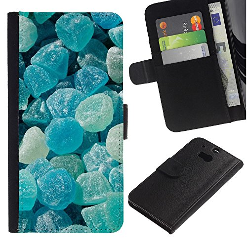iBinBang / Flip Wallet Design Leather Case Cover - Crystal Meth Rocks Candy Blue Beach - HTC One M8
