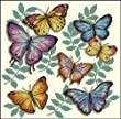 Cross Stitch Kit Butterfly in yellow Purple Blue and Red 14 Count 35cm X 35cm