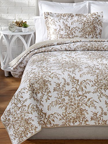 Laura Ashley Bedford Cotton Reversible Quilt, King, Mocha front-921892