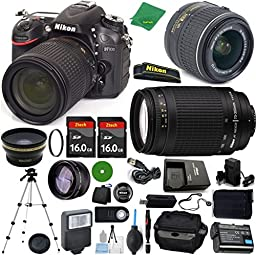 Nikon D7100 DX-Format CMOS DSLR Digital Camera, NIKKOR 18-55mm f/3.5-5.6 Auto Focus-S DX VR, Nikon 70-300mm f/4-5.6G, 2pcs 16GB Memory, Battery, Charger - International Version