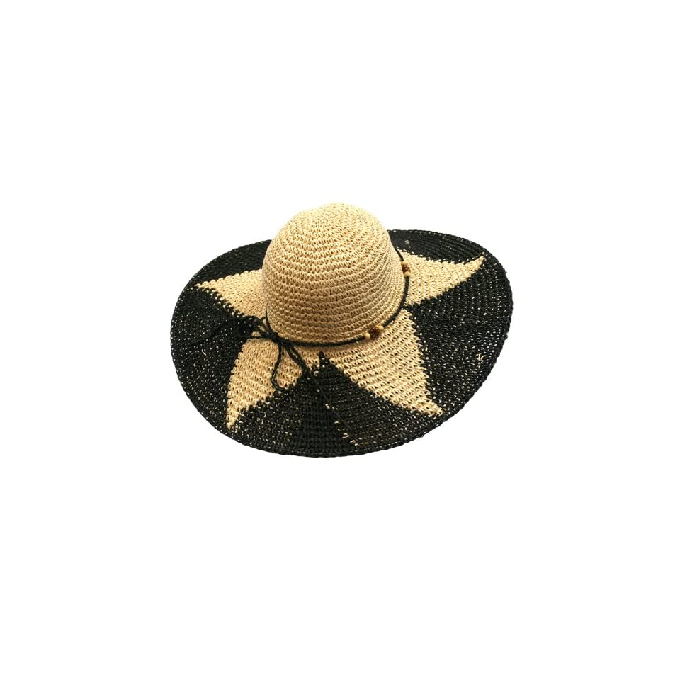 Luxury Divas Black   Cream Paper Braid Wide Brim Starburst Floppy ... 7c5887a18b79