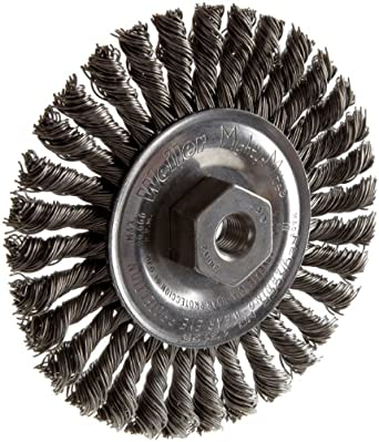 Weiler Dualife Narrow Face Wire Wheel Brush, Threaded Hole, Steel, Stringer Knotted