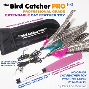 Best Cat Toys The Bird Catcher PRO EX! 1st Ever Fully Extendable / Retractable Interactive Teaser Wand Rod + Super Guinea Fowl Feather Refills + Storage Bag! Cats LOVE IT 100% Guaranteed!