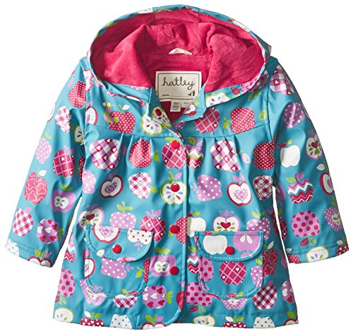 Hatley - Baby Girls Infant Infant Raincoat - Patterned Orchard Apples, Blue, 18 Months back-1072155