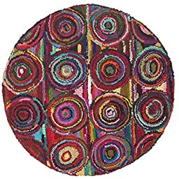 Safavieh Nantucket Collection NAN143A Handmade Abstract Geometric Abstract Art Pink and Multi Cotton Round Area Rug (4\' Diameter)